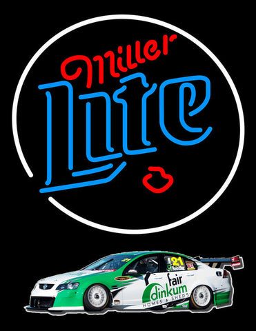 Miller Lite Rusty Wallace Race Car Neon Beer Sign