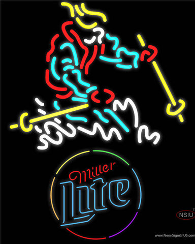 Skier with Miller Lite Neon Beer Sign