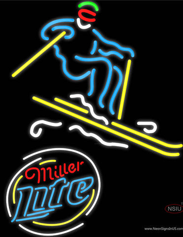 Skier with Miller Lite Logo Neon Sign