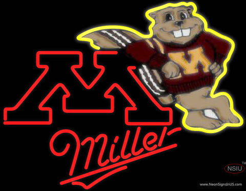 Miller Minnesota Golden Gophers Hockey Neon Sign Type