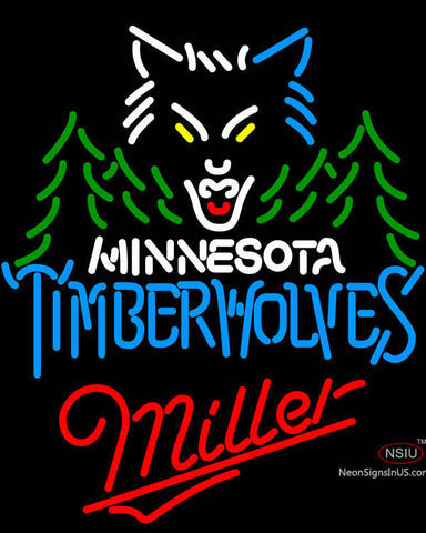 Miller Minnesota Timber Wolves NBA Neon Sign