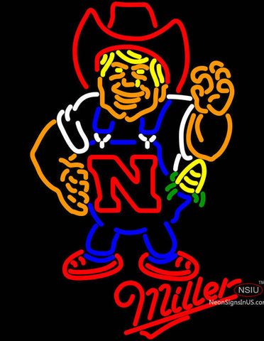 Miller Nebraska Cornhuskers Herby The Husker Neon Sign