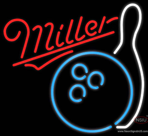 Miller Neon Bowling Neon Blue White Neon Sign