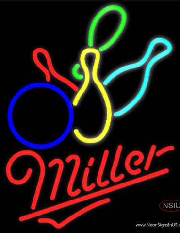 Miller Neon Colored Bowling Neon Sign