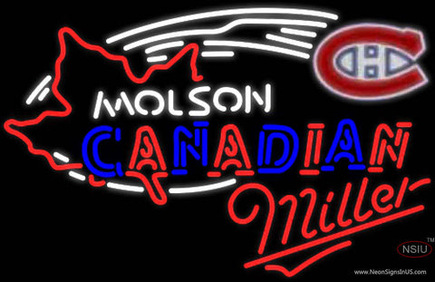 Miller Neon Molson Montreal Canadians Hockey Neon Sign