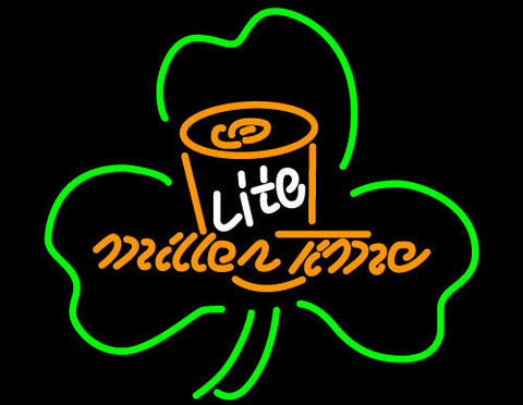 Miller Lite Time Can Shamrock Neon Beer Sign
