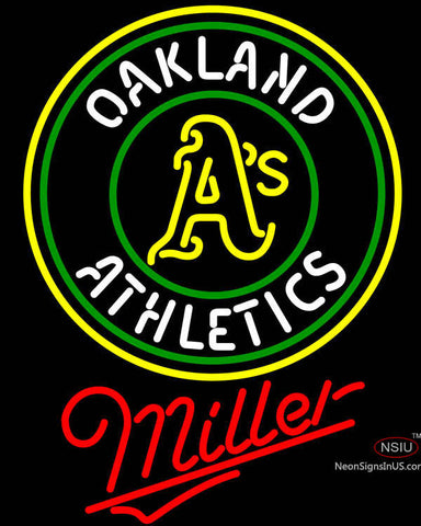Miller Oakland Athletics MLB Neon Sign