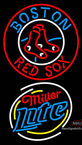 Miller Light Rounded Boston Red Sox MLB Neon Sign