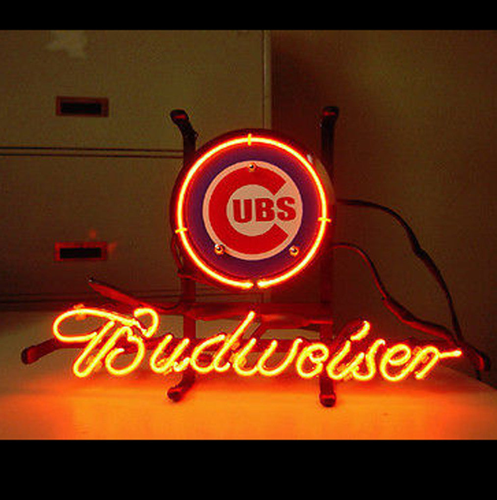 Mlb Chicago Cubs Baseball Budweiser Beer Bar Neon Light