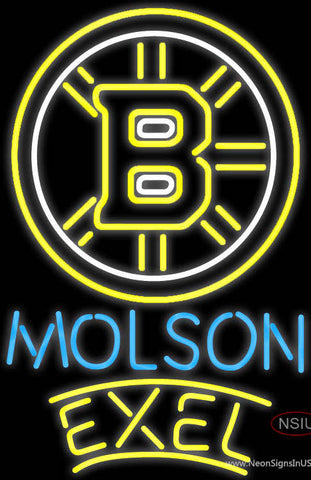 Molson Excel With Boston Bruins Neon Sign