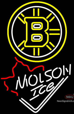 Molson Ice Maple Leaf With Boston Bruins Neon Sign