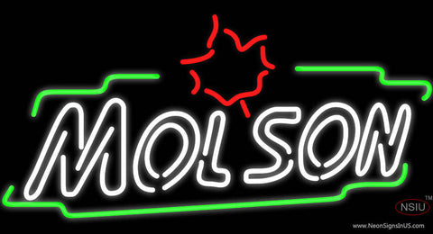 Molson Double Stroke Maple Neon Beer Sign
