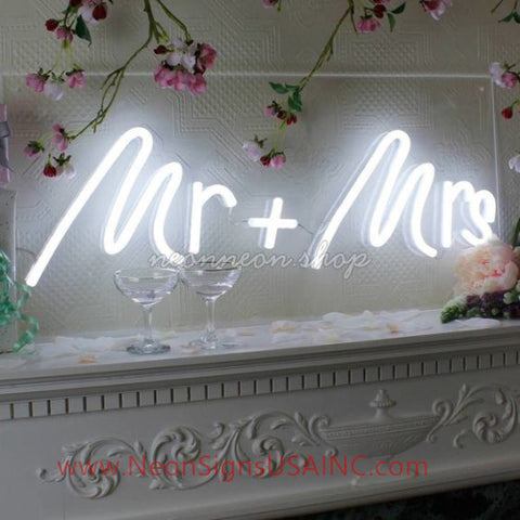 Mr And Mrs White Wedding Home Deco Neon Sign