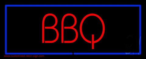 BBQ with Blue Border Neon Sign