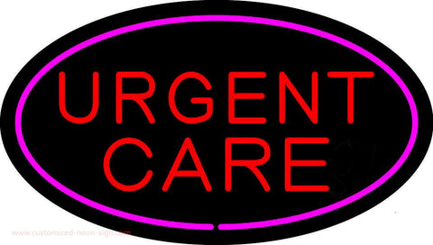 Urgent Care Oval Pink Handmade Art Neon Sign