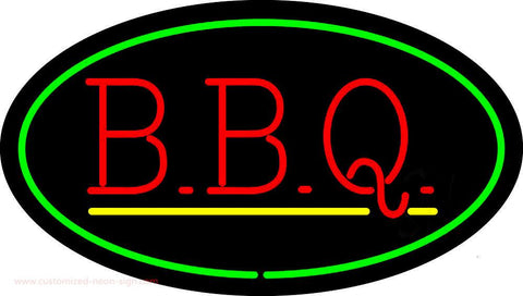 Oval Green BBQ with Yellow Line Neon Sign
