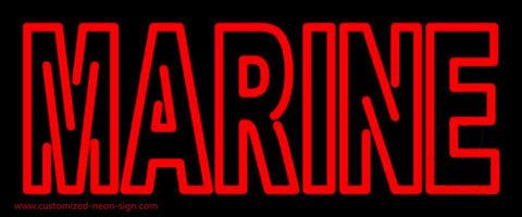Red Double Stroke Marine Handmade Art Neon Sign