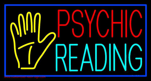 Psychic Reading Block Palm Blue Border Handmade Art Neon Sign