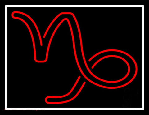 Red Capricorn Logo White Border Handmade Art Neon Sign
