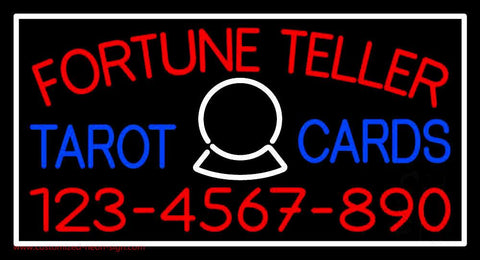 Red Fortune Teller Blue Tarot Cards With Phone Number Handmade Art Neon Sign