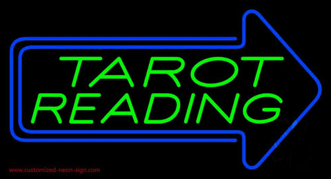 Green Tarot Reading With Blue Arrow Handmade Art Neon Sign