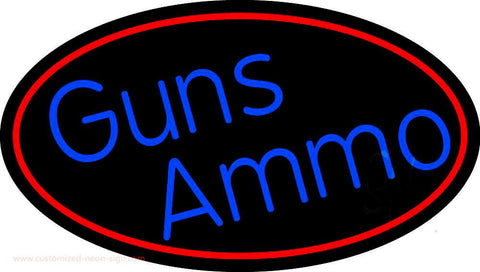 Blue Gun Ammo With Red Oval Handmade Art Neon Sign
