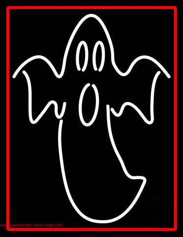 Ghost With Red Border Neon Sign