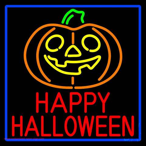 Happy Halloween Pumpkin With Blue Border Neon Sign