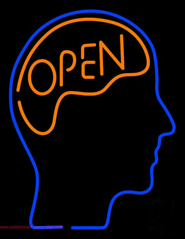 Open With Man Head Handmade Art Neon Sign