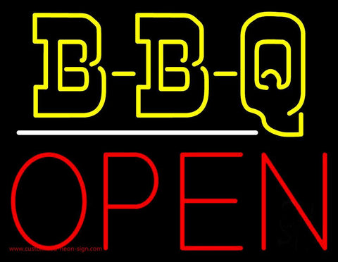 Double Stroke BBQ Open Neon Sign