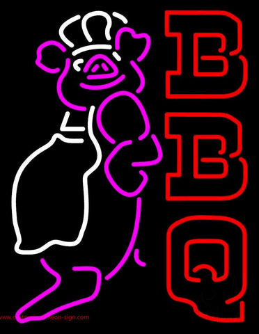 Double Stroke BBQ Pig Logo Neon Sign