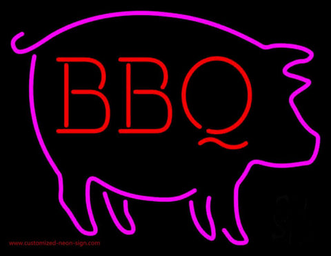 Pink Pig Red BBQ Neon Sign