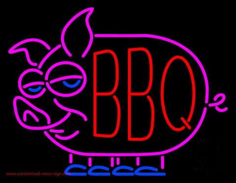 Red BBQ Pink Pig Logo Neon Sign