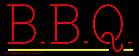 Red BBQ Yellow Line Neon Sign