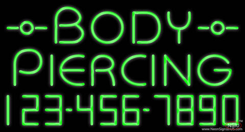 Green Body Piercing with Phone Number Real Neon Glass Tube Neon Sign