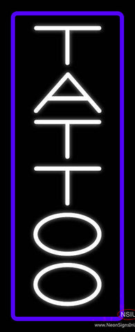 Vertical Tattoo with Border Real Neon Glass Tube Neon Sign