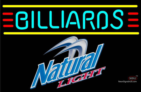 Natural Light Billiards Text Borders Pool Neon Sign