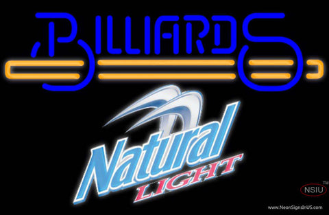 Natural Light Billiards Text With Stick Pool Neon Sign Giant