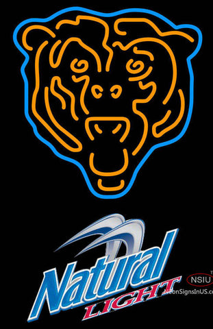 Natural Light Chicago Bears NFL Neon Sign