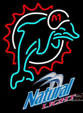 Natural Light Miami Dolphins NFL Neon Sign