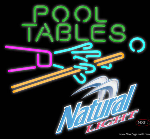 Natural Light Pool Tables Billiards Neon Sign
