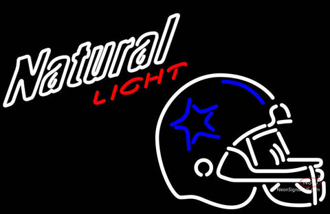 Natural Light Dounded Dallas Cowboys Helmet NFL Neon Sign