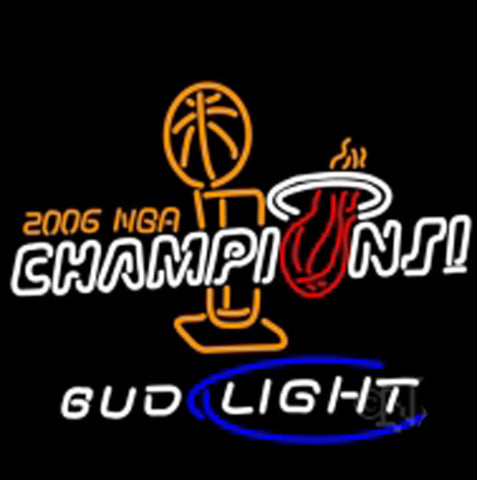 Nbl Miami Heat World Champs Budweiser Lebron Wade No Auto Neon Beer Light