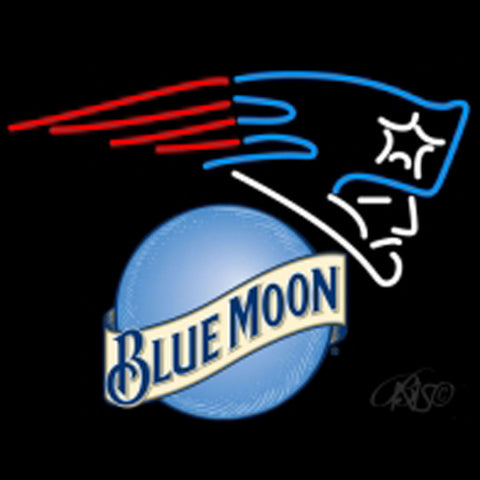 blue moon new england patriots nfl beer neon sign