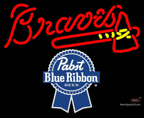 Pabst Blue Ribbon Atlanta Braves MLB Neon Sign