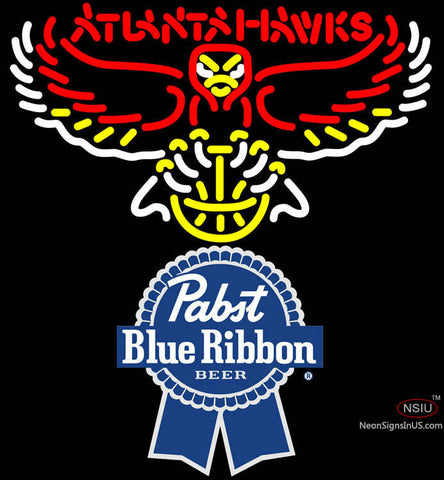 Pabst Blue Ribbon Atlanta Hawks NBA Neon Sign