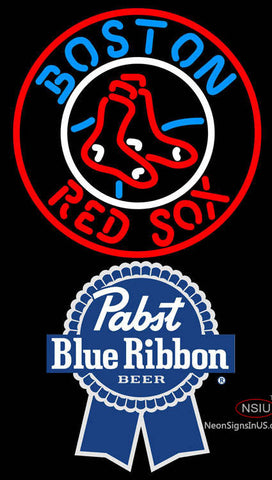 Pabst Blue Ribbon Boston Red Sox MLB Neon Sign