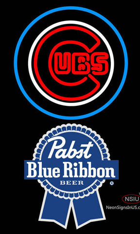 Pabst Blue Ribbon Chicago Cubs MLB Neon Sign