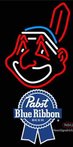 Pabst Blue Ribbon Cleveland Indians MLB Neon Sign