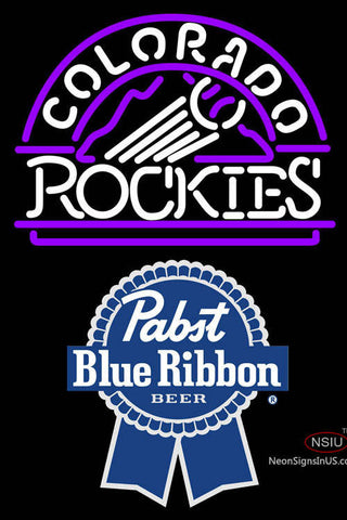 Pabst Blue Ribbon Colorado Rockies MLB Neon Sign  7